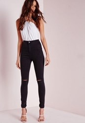 Missguided High Waisted Slash Knee Skinny Jeans Black