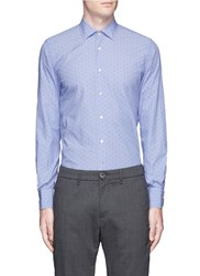 Lardini Dot Jacquard Cotton Shirt Blue