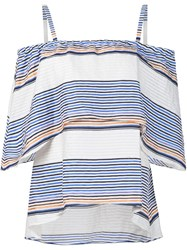 Tanya Taylor Off Shoulder Ruffle Striped Blouse White
