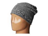 Plush Fleece Lined Marled Beanie Black White Beanies