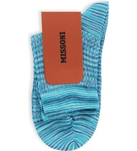 Missoni Patterned Cotton Blend Ankle Socks 0003 Blue