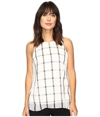 Vince Camuto Sleeveless Stripe Duet Blouse With Knit Underlay New Ivory Women's Blouse Bone