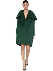 Delpozo Ruffled Cotton Blend Twill Coat Green