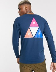 Huf Prism Triple Triangle Long Sleeve T Shirt In Navy