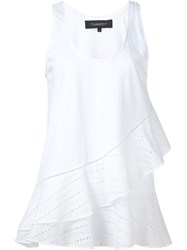 Thakoon Diagonal Ruffle Tank Top White