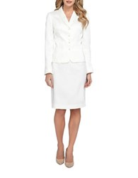 Tahari By Arthur S. Levine Beaded Shawl Collar Jacket And Skirt Set Ivory White
