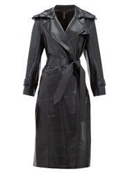 Norma Kamali Waist Tie Coated Jersey Trench Coat Black
