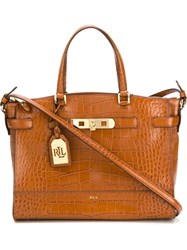 Polo Ralph Lauren Embossed Crocodile Effect Tote Brown