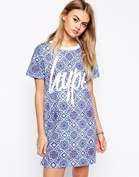 Hype T Shirt Dress In Mosaic Festival Print With Front Logo Multi