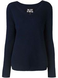 Nlst V Neck Sweater Blue