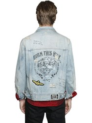 Just Cavalli Destroyed Denim Jacket