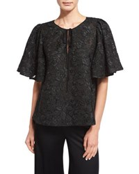 Corded Lace Flutter Sleeve Tunic Black