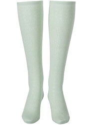 Meadham Kirchhoff Patterned Knee High Socks Green