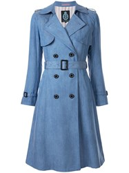 Guild Prime Double Breasted Trench Coat Blue