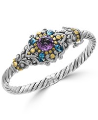 Effy Amethyst 3 Ct. T.W. And Blue Topaz 2 1 6 Ct. T.W. Bracelet In Sterling Silver And 18K Gold