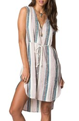 O'neill Women's Zeezee Stripe Cotton Dress Ivory Multi