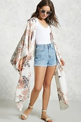 Forever 21 Contemporary Floral Kimono Ivory Pink