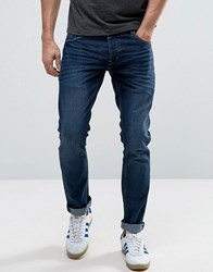 Solid Slim Fit Jeans With Stretch Blue Black