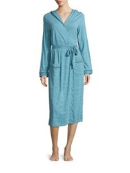 Cosabella Bella Striped Hooded Robe Picasso Marine Blue