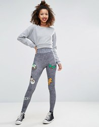 Asos Christmas Badge Print Leggings Grey