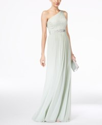 Adrianna Papell Embellished Lace One Shoulder Gown Mint