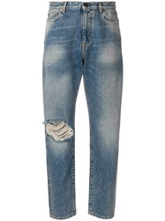Saint Laurent Distressed Mum Jeans Blue