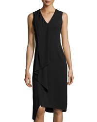 Reed Krakoff V Neck Ruffled Sleeveless Dress Black