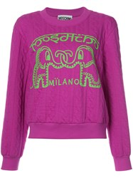 Moschino Elephant Cable Knit Sweater Women Cotton Polyester S Pink Purple