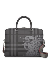 Burberry Ekd London Check And Leather Briefcase Grey