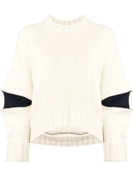 Alexander Mcqueen Zipped Elbows Boxy Jumper Neutrals