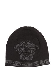 Versace Medusa Intarsia Wool And Silk Knit Beanie