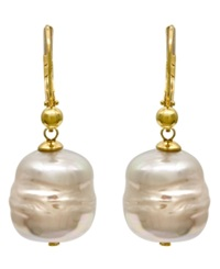 Majorica 18K Gold Over Sterling Silver Earrings Organic Man Made Baroque Pearl Drop