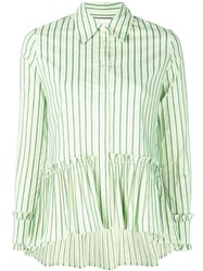 Alexis Striped Peplum Shirt White