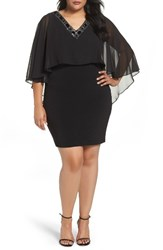Sangria Plus Size Women's Embellished Popover Body Con Dress Black