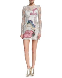 Marc Jacobs Vacuum Embroidered Lace Cocktail Dress White