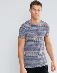 Asos Muscle T Shirt With Aztec Print In Grey Paloma Grey