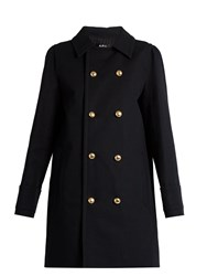 A.P.C. Double Breasted Cotton Pea Coat Black