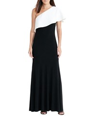 Lauren Ralph Lauren One Shoulder Contrast Overlay Jersey Gown Black White