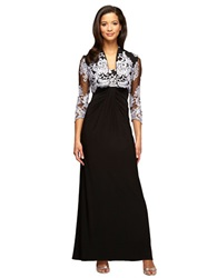 Alex Evenings Lace Trimmed Gown And Bolero Set Black White