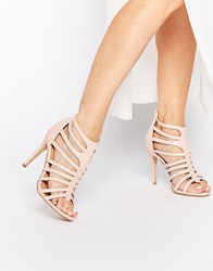Daisy Street Nude Caged Heeled Sandals