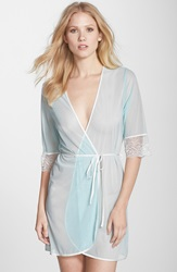 Fleurt Lace Trim Tulle Robe Powder Blue Ivory