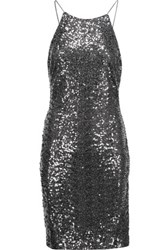 Badgley Mischka Draped Sequined Tulle Dress Charcoal