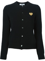 Comme Des Garcons Play Embroidered Heart Cardigan Black