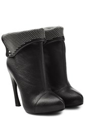 Alexander Mcqueen Leather Ankle Boots With Studded Cuff Black
