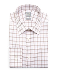 Ike Behar Windowpane Woven Dress Shirt Brown Pink