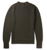 Belstaff Cardington Leather Trimmed Ribbed Wool Blend Sweater Army Green