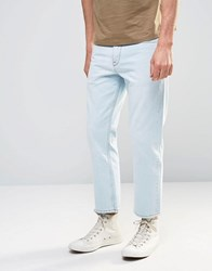 Asos Straight Cropped Jeans In Light Blue Bleach Blue