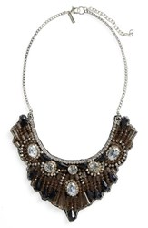 Topshop Women's Crystal And Bead Bib Necklace