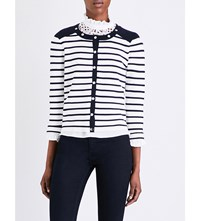 Claudie Pierlot Martin Striped Cotton Cardigan Ecru
