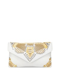 Ash Zuma Embellished Leather Evening Clutch Bag Off White